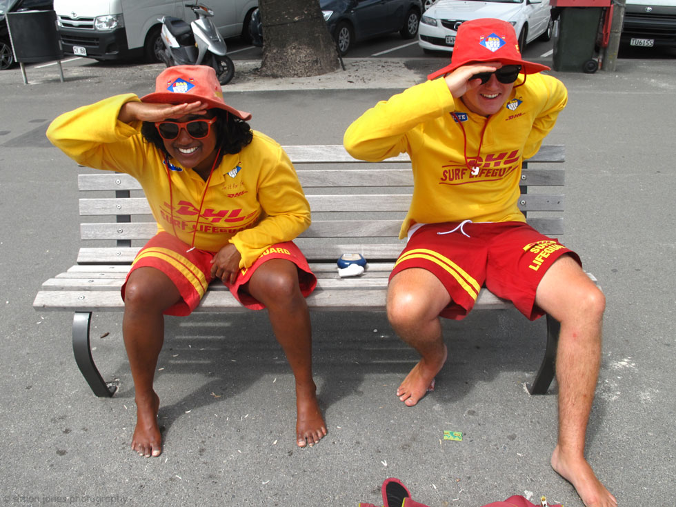 Lifeguards on the lookout at Oriental Parade