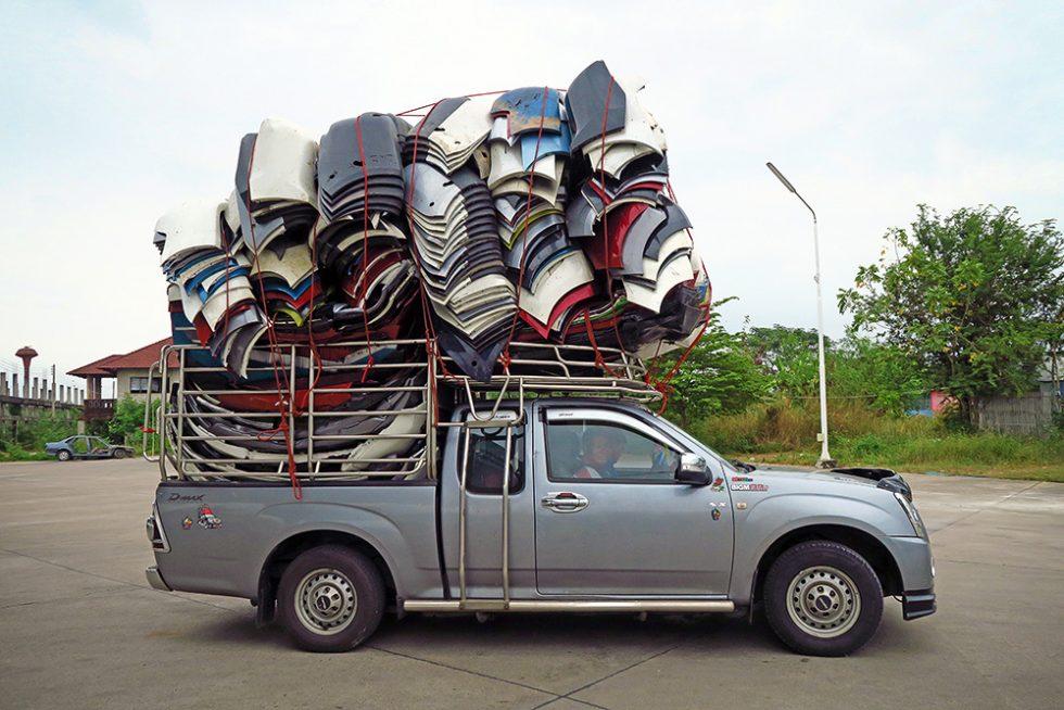 Overloaded pickup truck